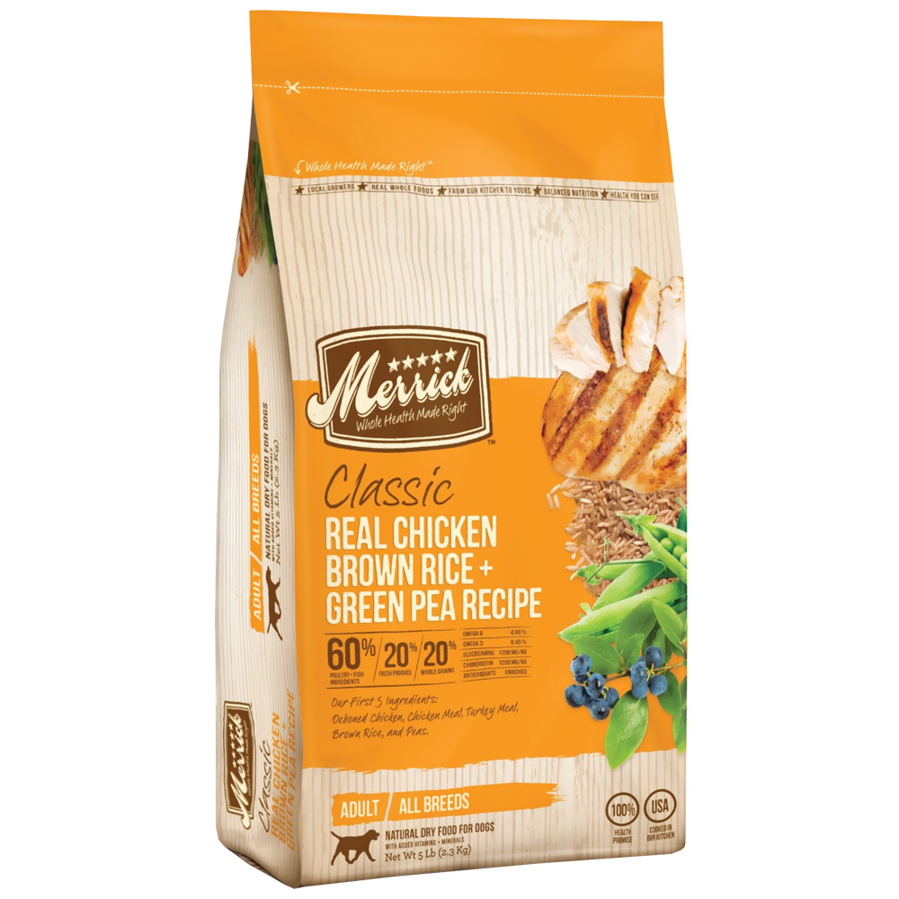 Merrick Classic Real Chicken, Brown Rice & Green Pea Adult Dog Food (5 lbs)