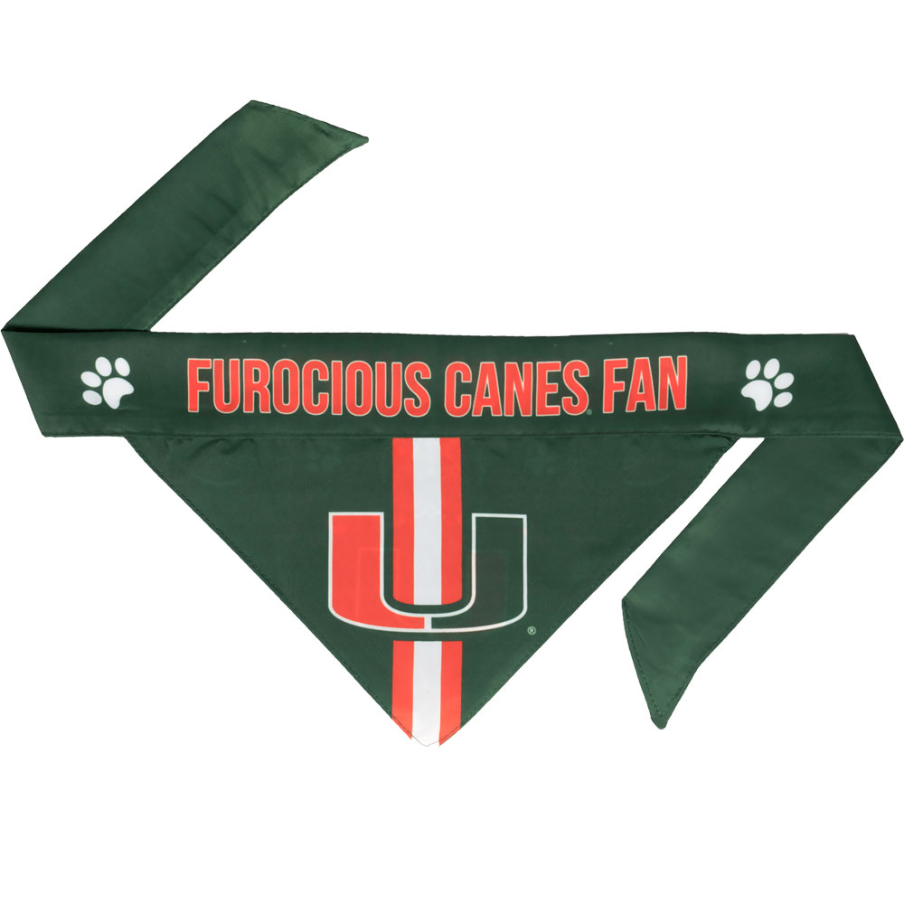 Miami Hurricanes Dog Bandana - Tie On (Large)