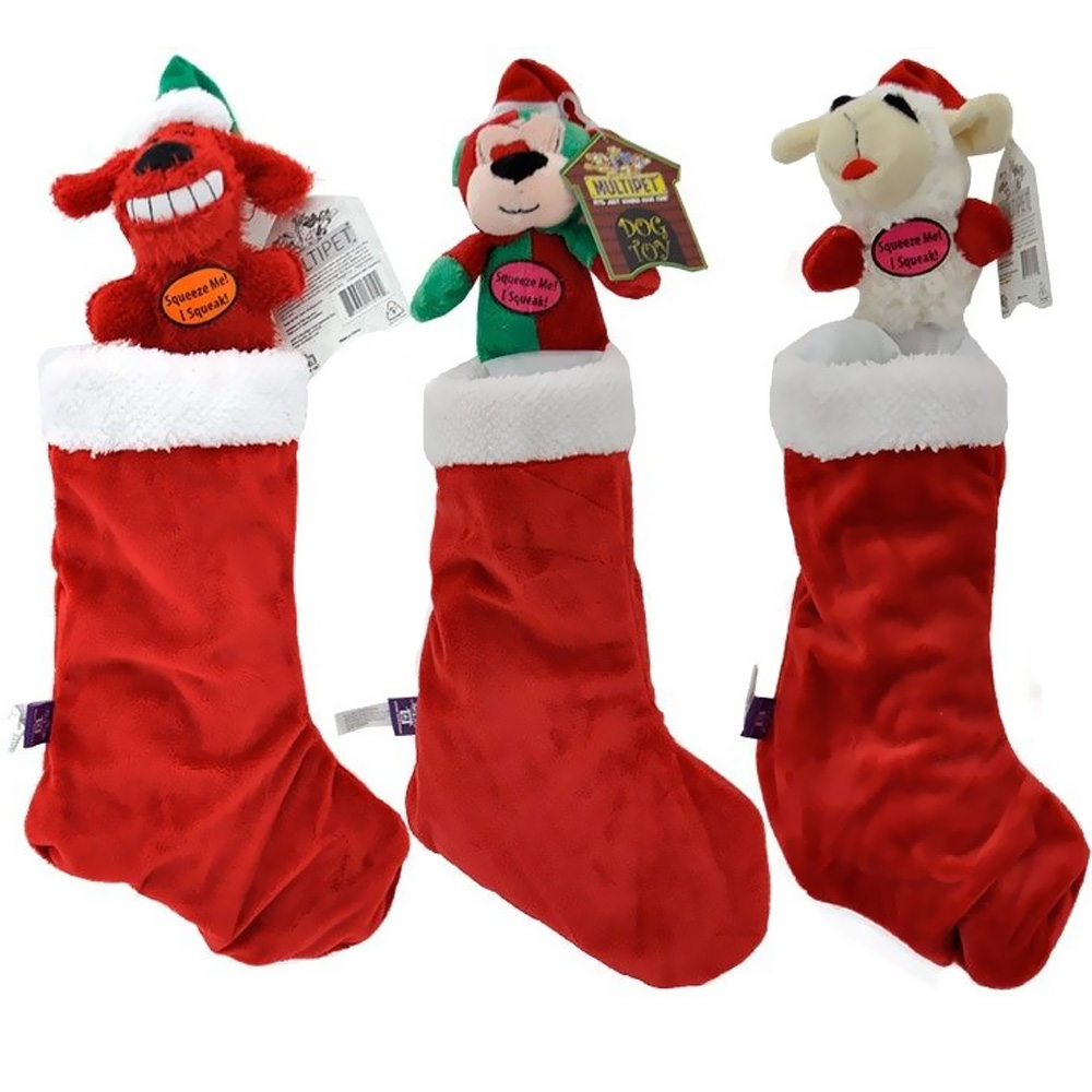 """Multipet Holiday Dog Toy Stockings 18"""" - Assorted"""