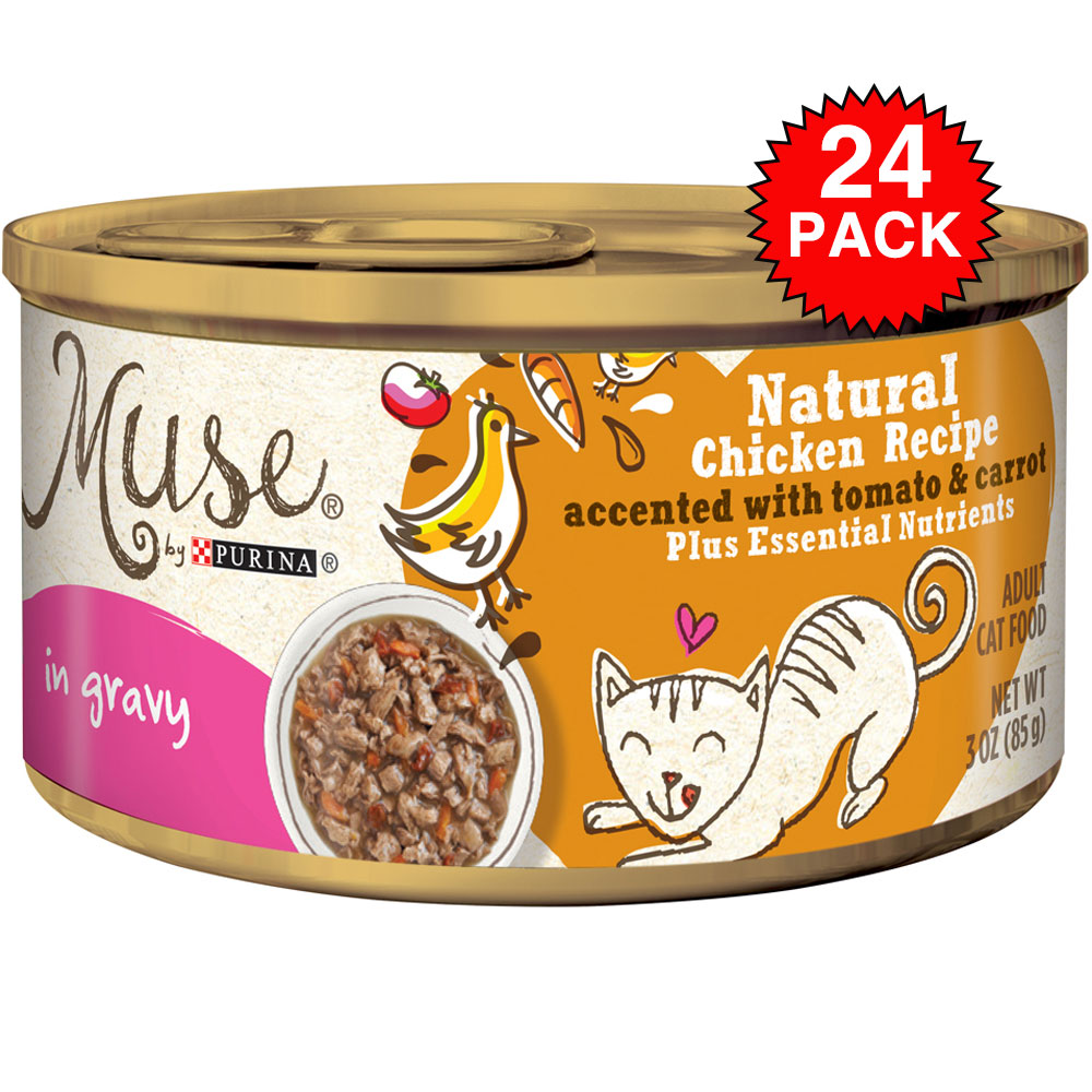 Muse Natural Chicken with Tomato & Carrot Cat Food in Gravy (24x3oz)