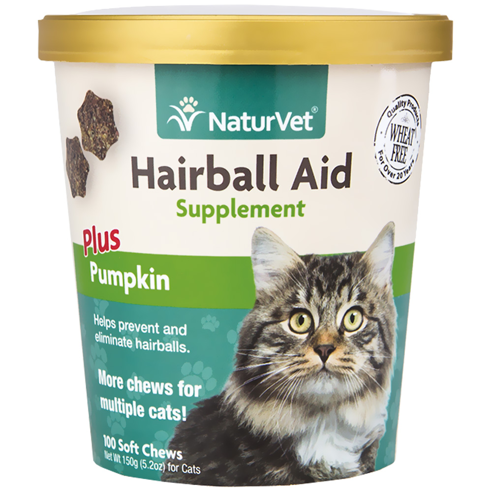 NaturVet Hairball Aid Supplement Plus Pumpkins (100 Soft Chews)