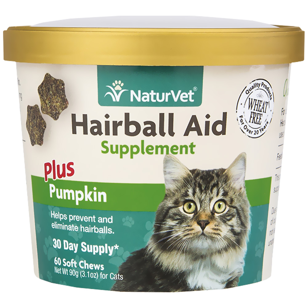NaturVet Hairball Aid Supplement Plus Pumpkins (60 Soft Chews)