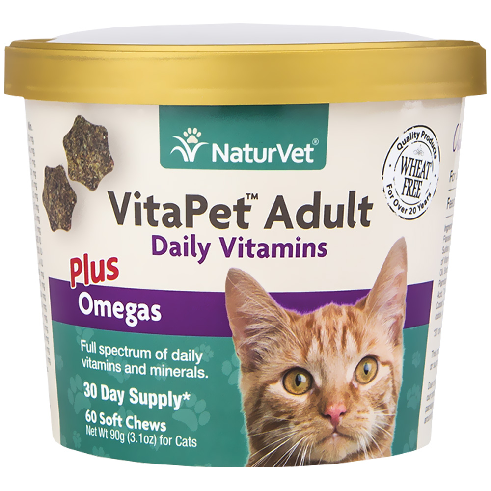 NaturVet VitaPet Adult Daily Vitamins Plus Omegas for Cats (60 Soft Chews)