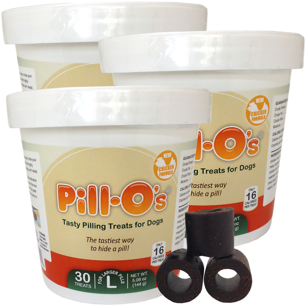 NEW Pill-Os Tasty Pilling Treats Chicken LARGE 3-PACK (90 Count)