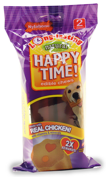 Nylabone Happy Time Chicken Dog Treat - Medium (2 pack)