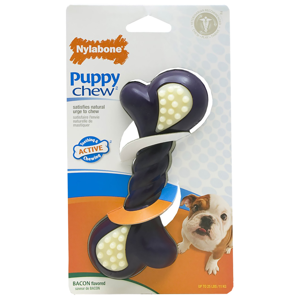 Nylabone Puppy Chew Double Action Bacon Flavored Bone