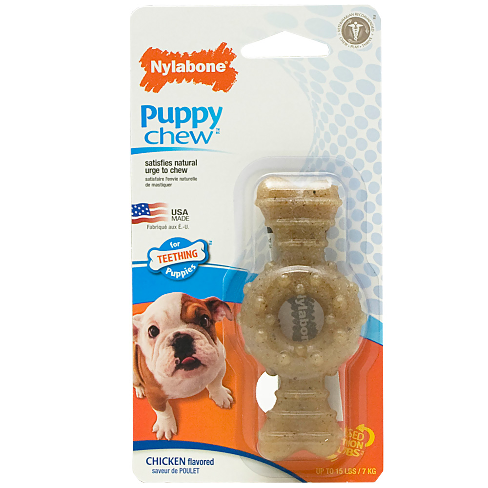 Nylabone Puppy Ring Teething Chicken Flavored Bone - Petite (Small)