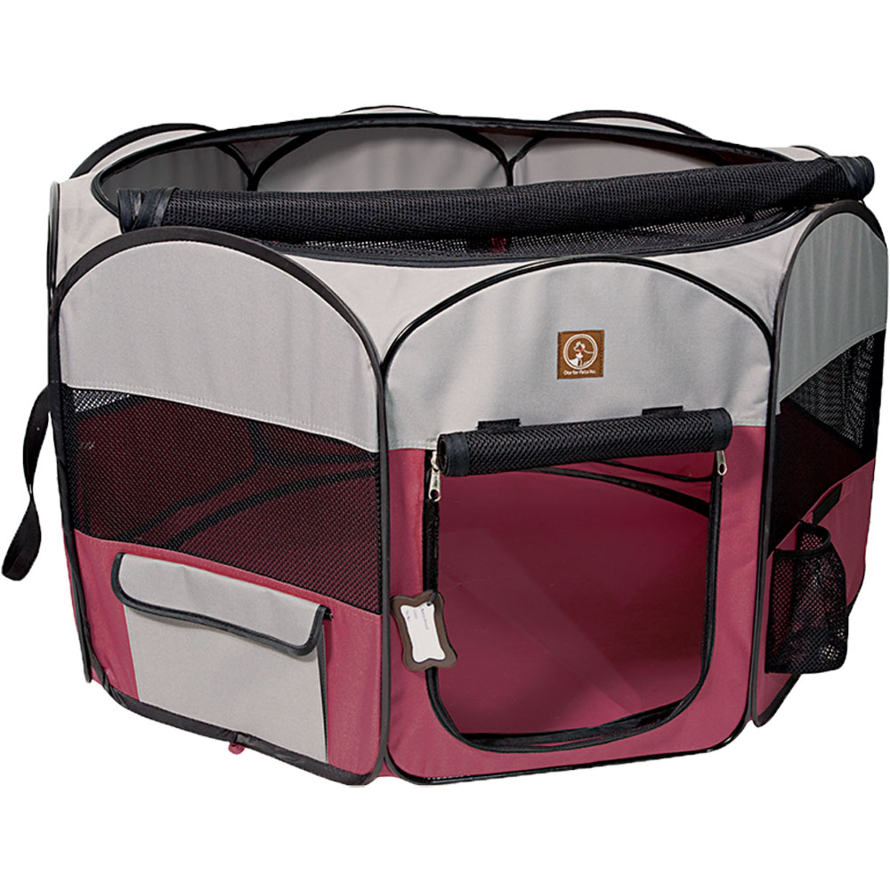 One for Pets Fabric Portable Pet Playpen - Fuchsia/Grey - Large (46?x46?x20.5?)