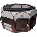 """One for Pets Fabric Portable Pet Playpen - Grey/Brown - Large (46""""x46""""x20.5"""")"""