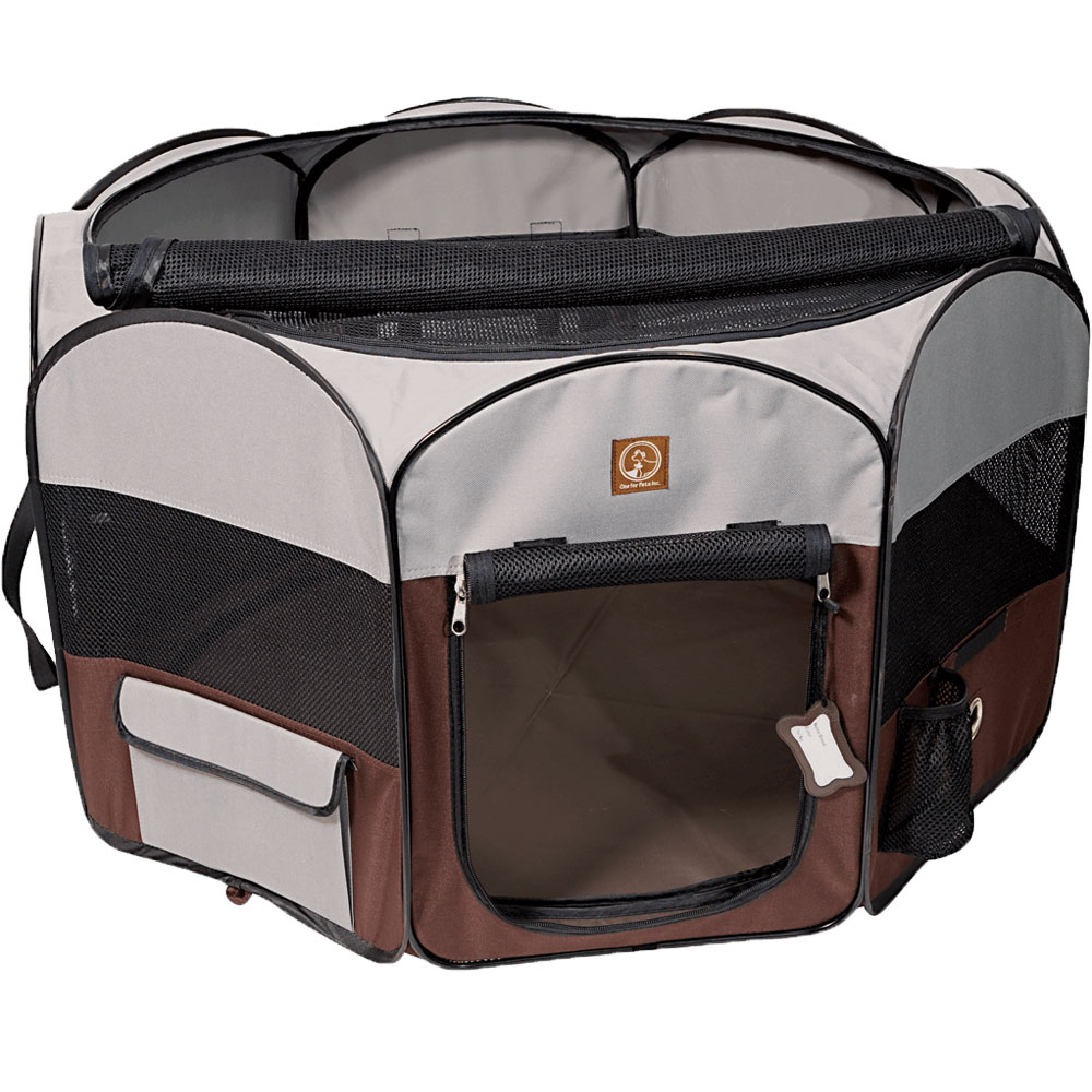 One for Pets Fabric Portable Pet Playpen - Grey/Brown - Small (36?x36?x19.5?)