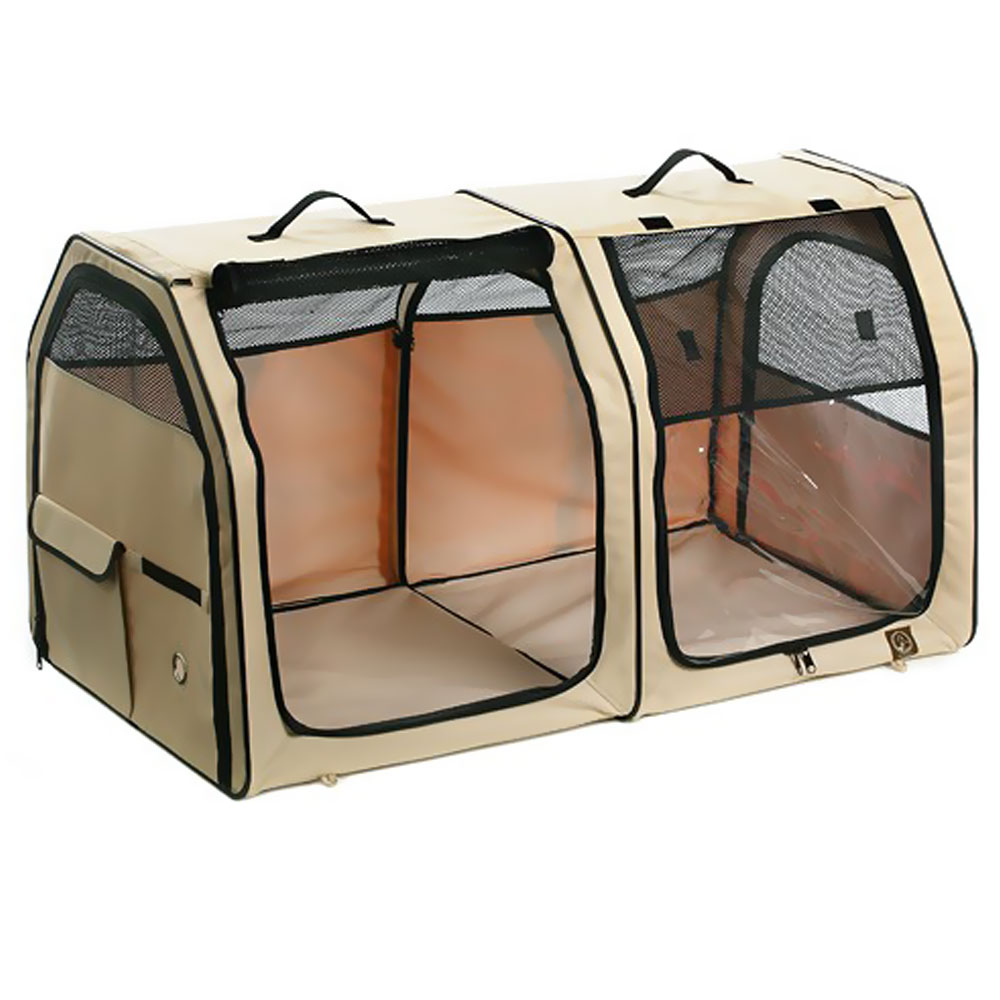 One for Pets Portable Fabric Kennel & Cat Show House - Cream (24?x24?x42?)