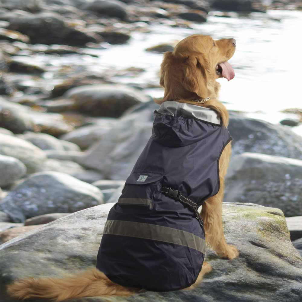"""One For Pets Safety Hooded Dog Raincoat - Dark Blue 14"""""""