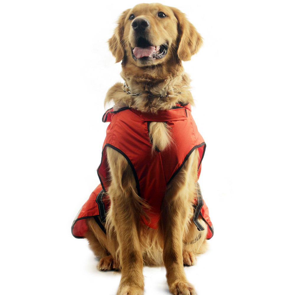 One For Pets Safety Hooded Dog Raincoat - Orange Red 28""