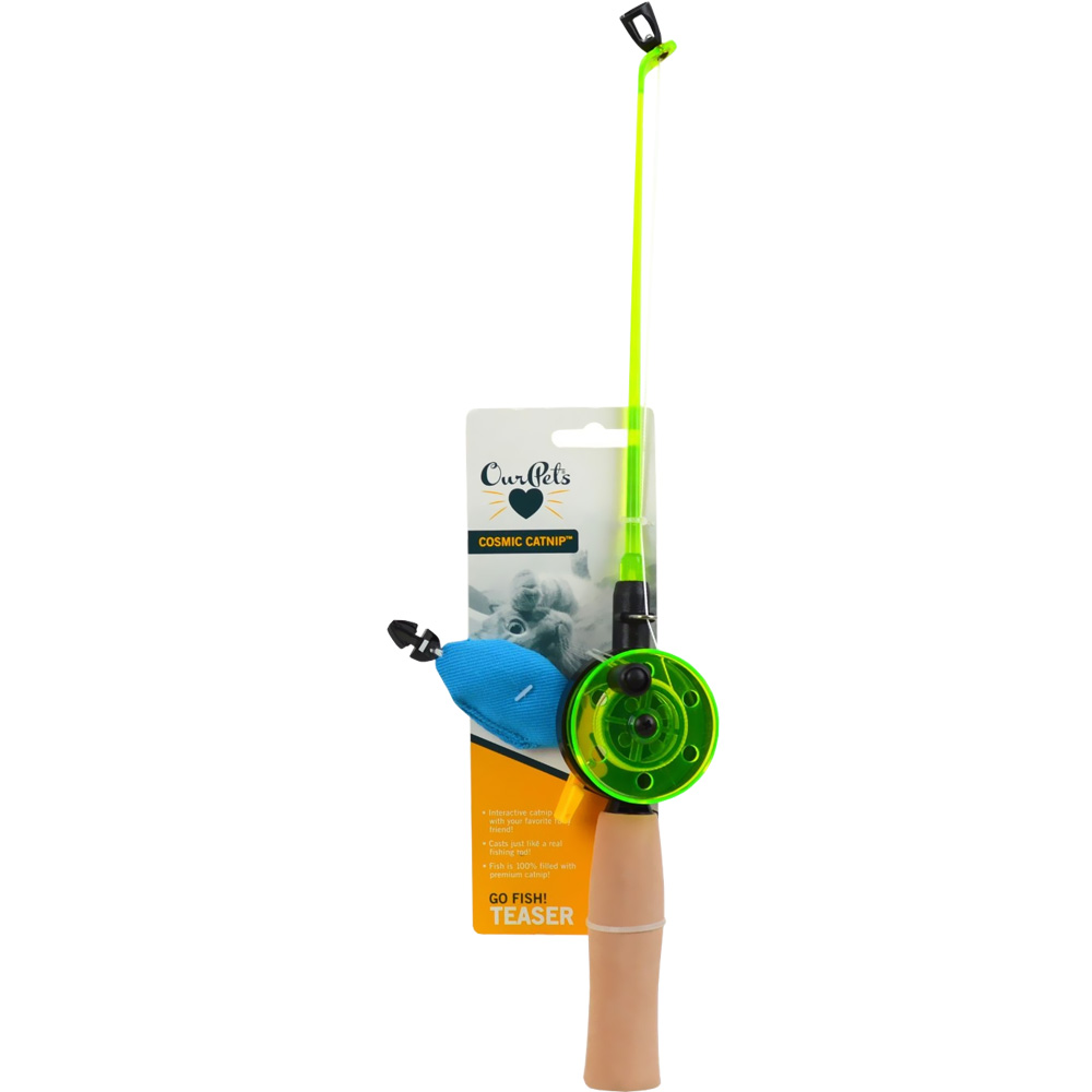 OurPets Cosmic Catnip Teaser Rod - Go Fish!