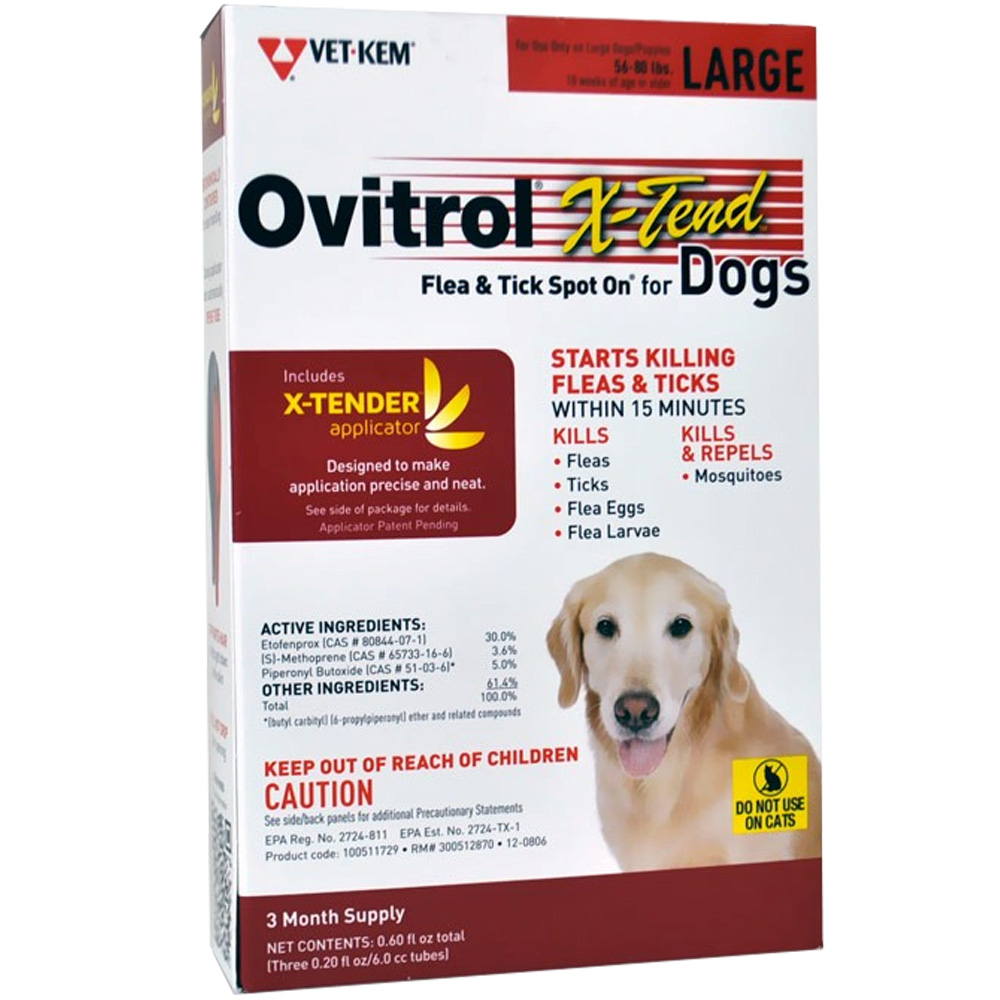 Ovitrol X-Tend Flea & Tick Spot On for Large Dogs (56-80 lbs) - 3 MONTH