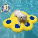 Paws Aboard Lazy Inflatable Raft Small - Blue/Yellow (6 ft)