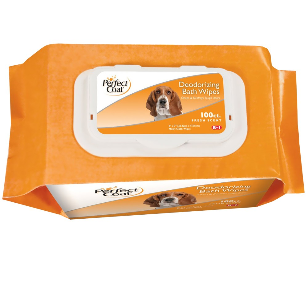 Perfect Coat Deodorizing Bath Wipes for Dogs  (100 ct)