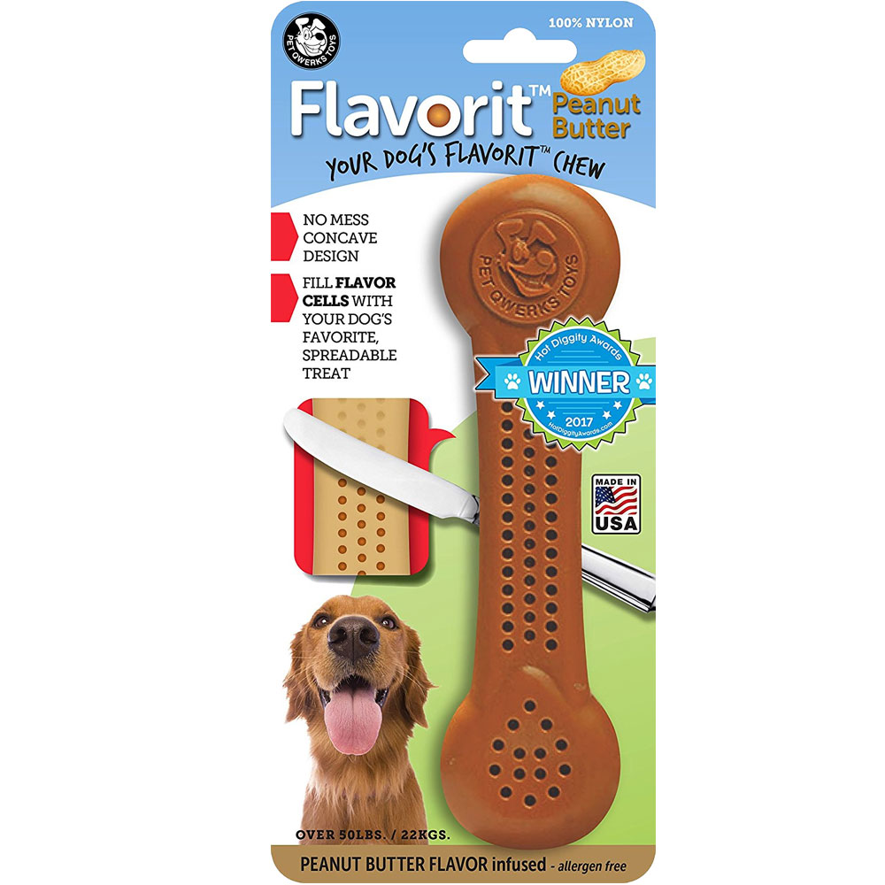 Pet Qwerks Flavorit Peanut Butter Nylon Bone - XLarge