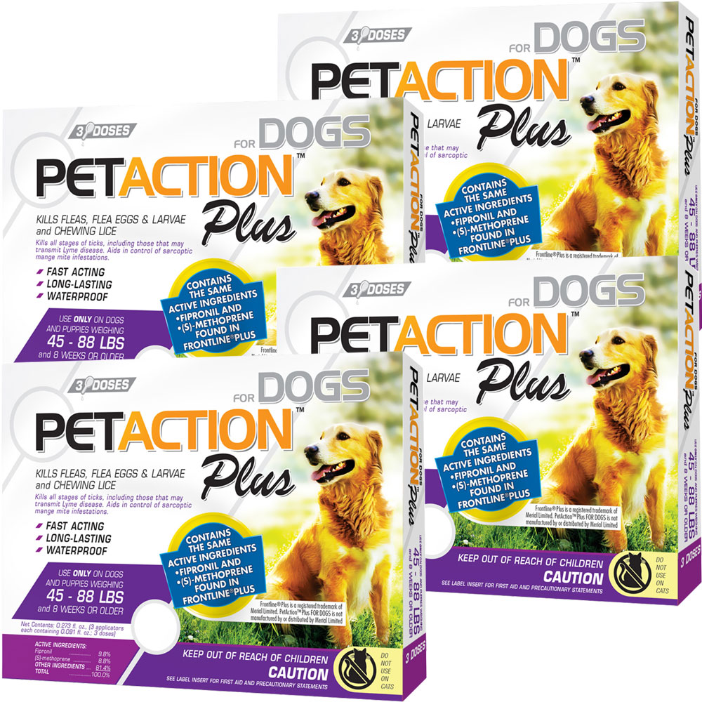 PetAction Plus Flea & Tick Treatment for Large Dogs 45-88 lbs - 12 MONTH