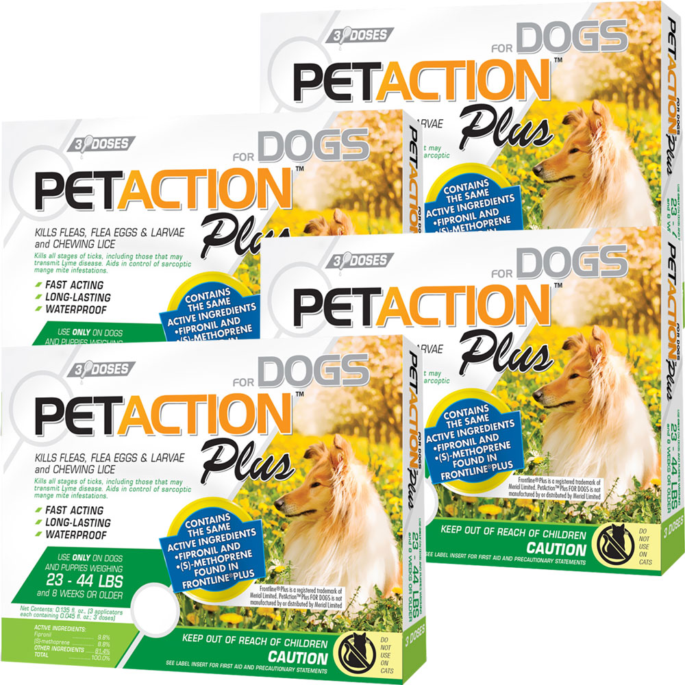 PetAction Plus Flea & Tick Treatment for Medium Dogs 23-44 lbs - 12 MONTH