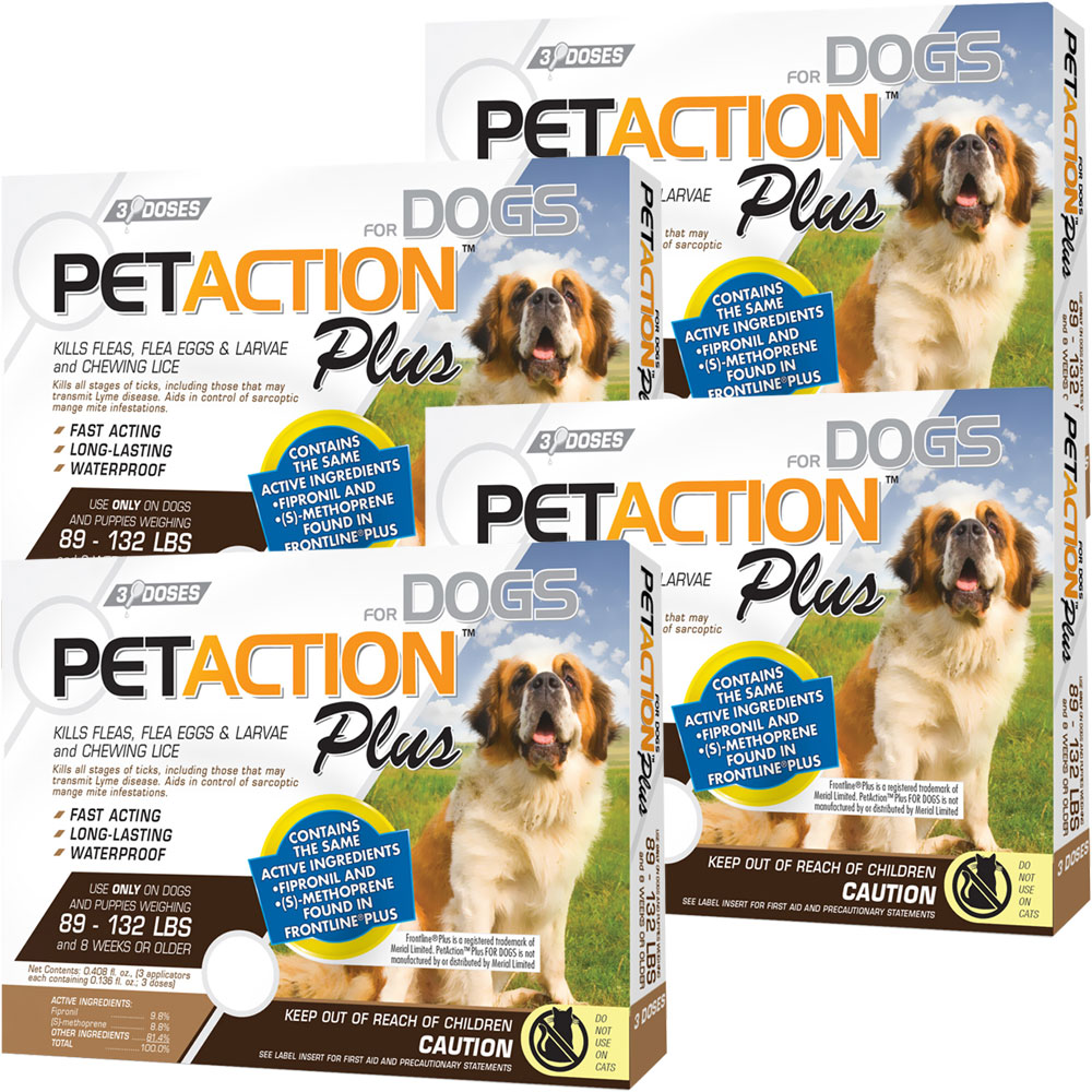 PetAction Plus Flea & Tick Treatment for XLarge Dogs 89-132 lbs - 12 MONTH