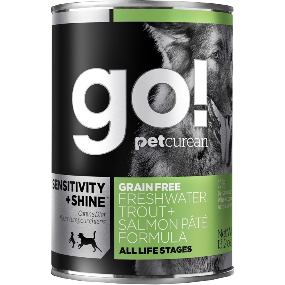 Petcurean Go! Sensitivity + Shine Cat Food - Freshwater Trout + Salmon Pate (12x13.2oz)