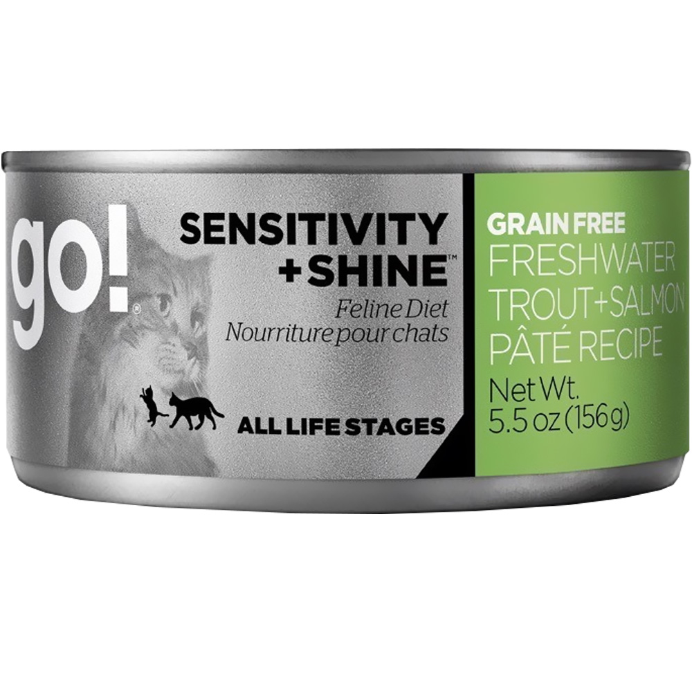 Petcurean Go! Sensitivity + Shine Cat Food - Freshwater Trout + Salmon Pate (24x5.5oz)