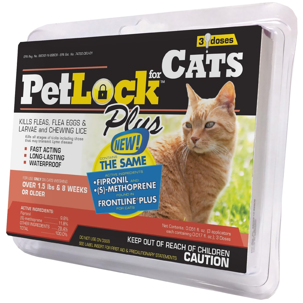 PetLock Plus Flea & Tick Treatment for Cats (3 Doses)