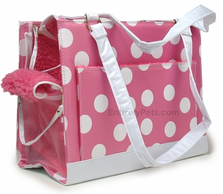 Petmate Soft Sided Carrier Pampered Pink/Polka Dots - SMALL