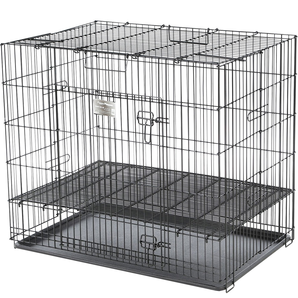 ProSelect Puppy Playpen with Plastic Pan Small - Black