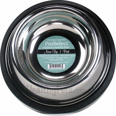 """ProSelect Stainless Steel Non-tip Pet Dish (1pt Width=5"""")"""