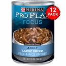 Purina Pro Plan Focus - Beef & Rice Entrée Canned Large Breed Adult Dog Food (12x13oz)