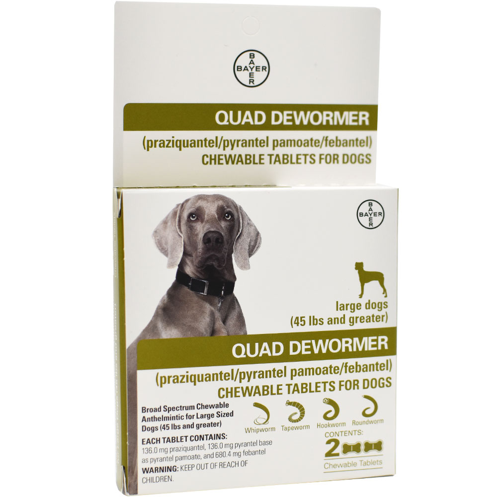 Quad Dewormer for Large Dogs (Over 45 lbs) - 2 Chewable Tablets