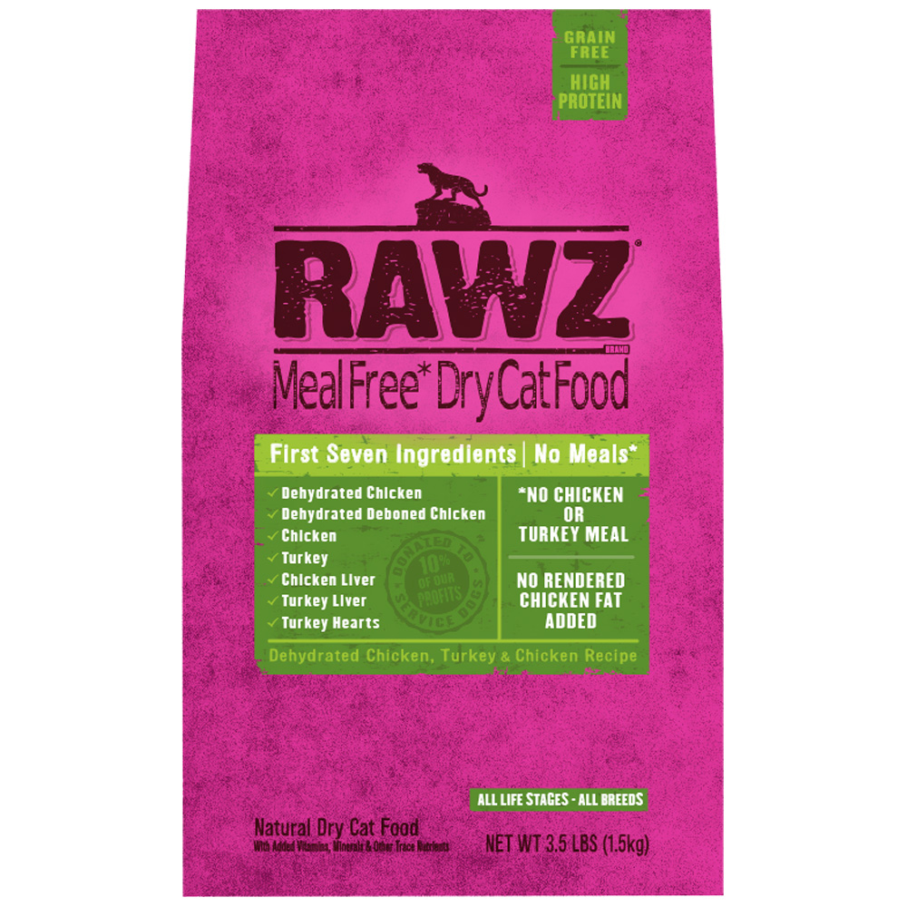 Rawz Meal Free Dry Cat Food - Dehydrated Chicken, Turkey & Chicken Recipe (3.5 lb)