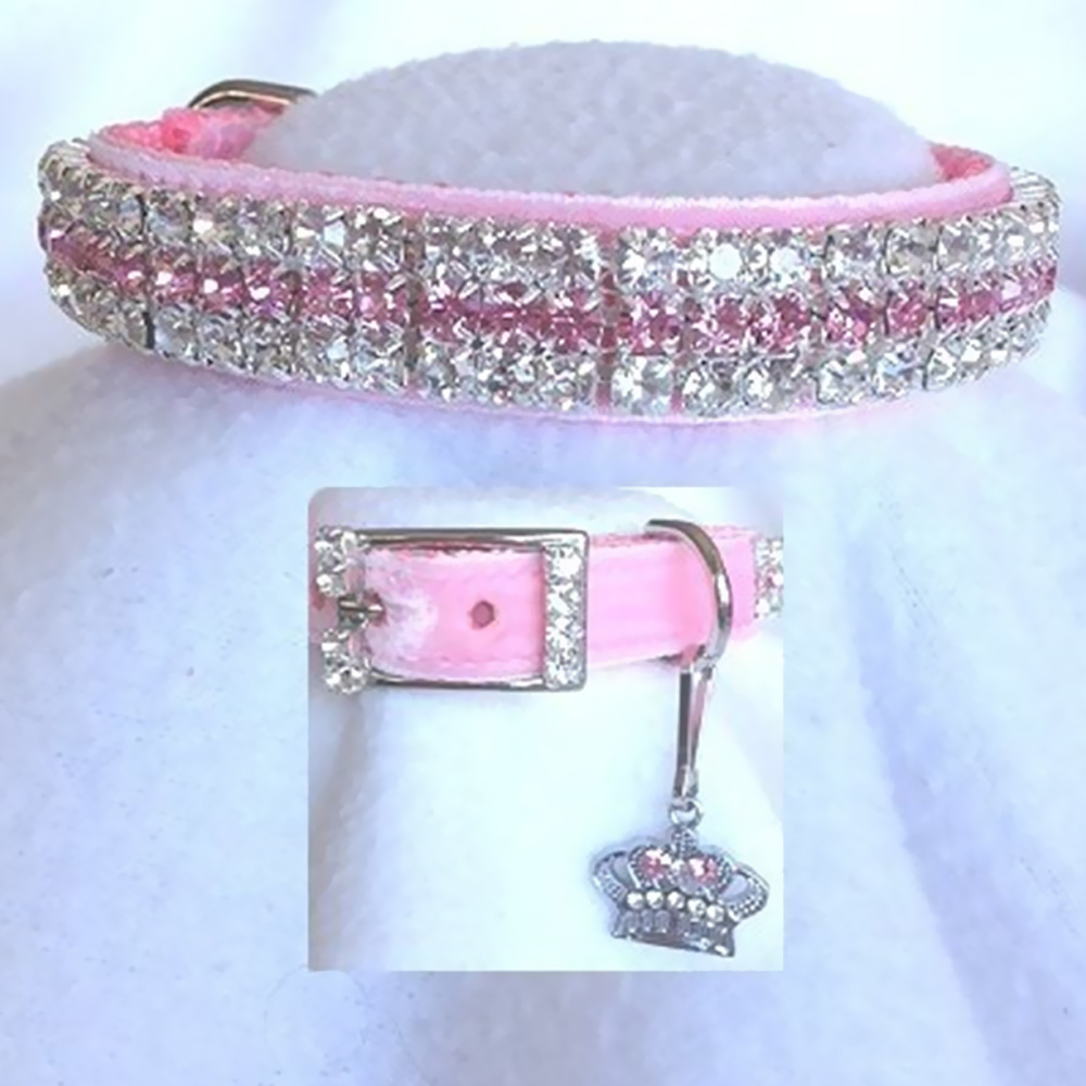 Rhinestone Dog Collars - Princess in Pink Velvet # 189 (Medium)