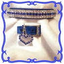 Rhinestone Dog Collars - Royal Blue Velvet # 301 (Small)