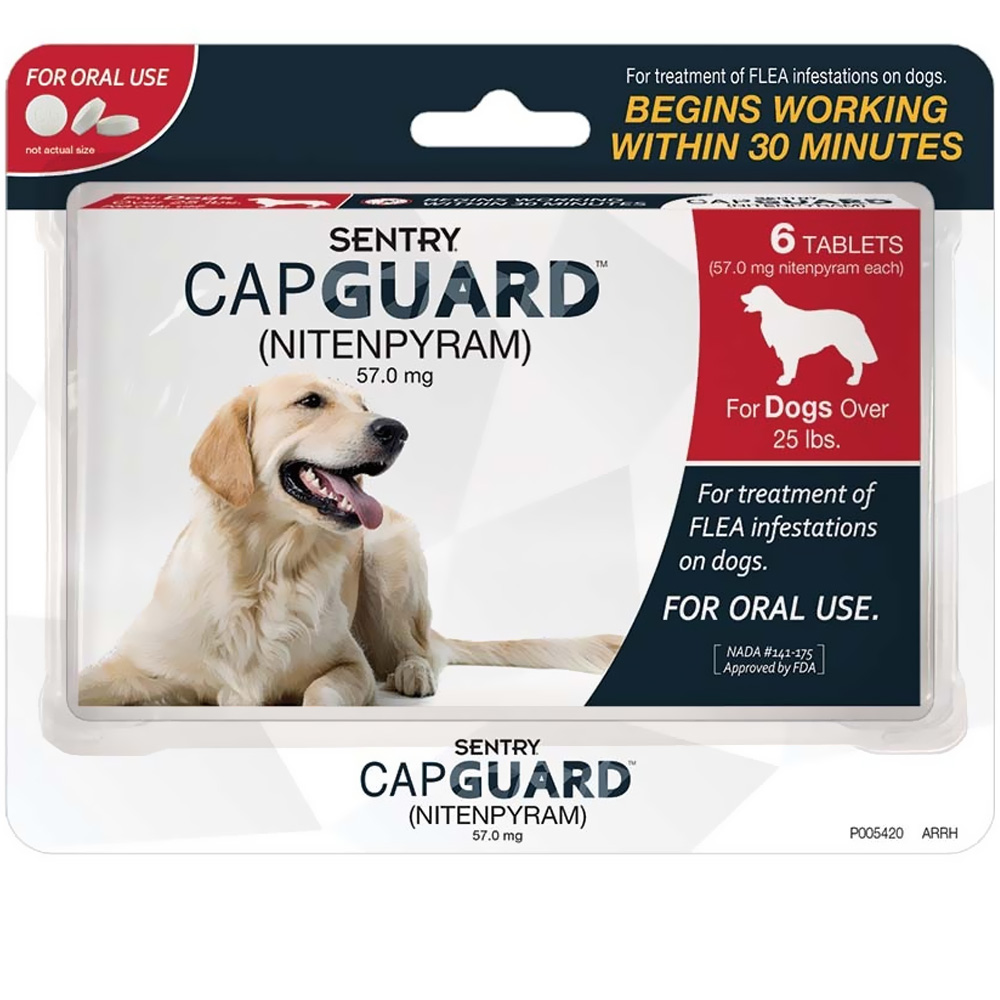 SENTRY CapGuard Flea Tablets for Dogs Over 25 lbs (6 pack)