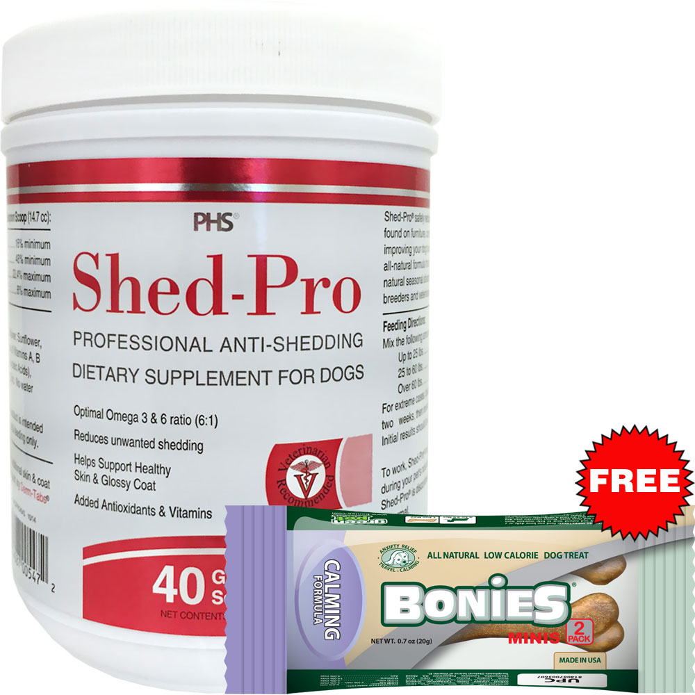 Shedpro Granules for Dogs (40 servings) + Free BONIES Natural Calming Formula MINIS 2 BONE PACK (0.7 oz)