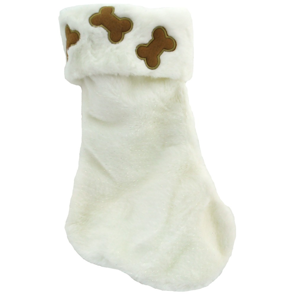 Snow White Glitter N' Bones Dog Holiday Stocking