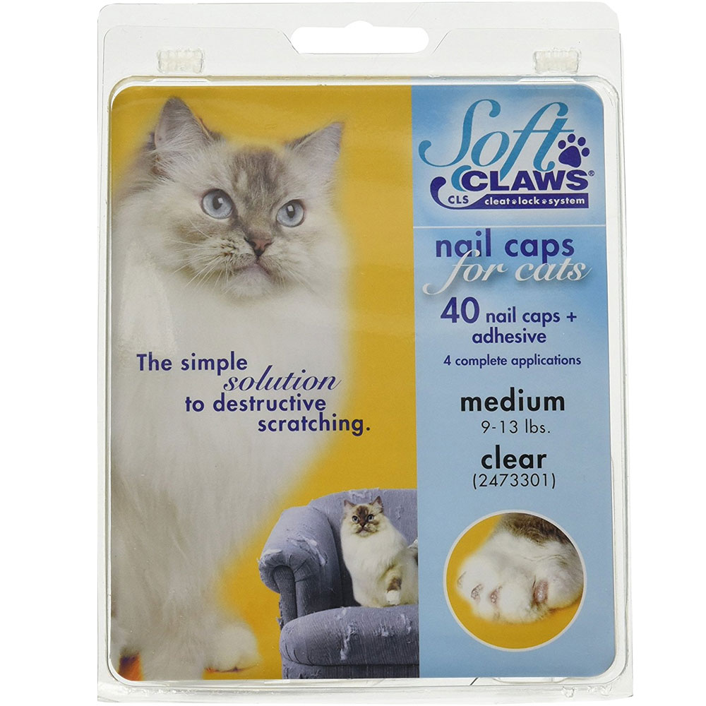 Soft Claws Nail Caps for Cats 40 Count Pack - Clear Medium)