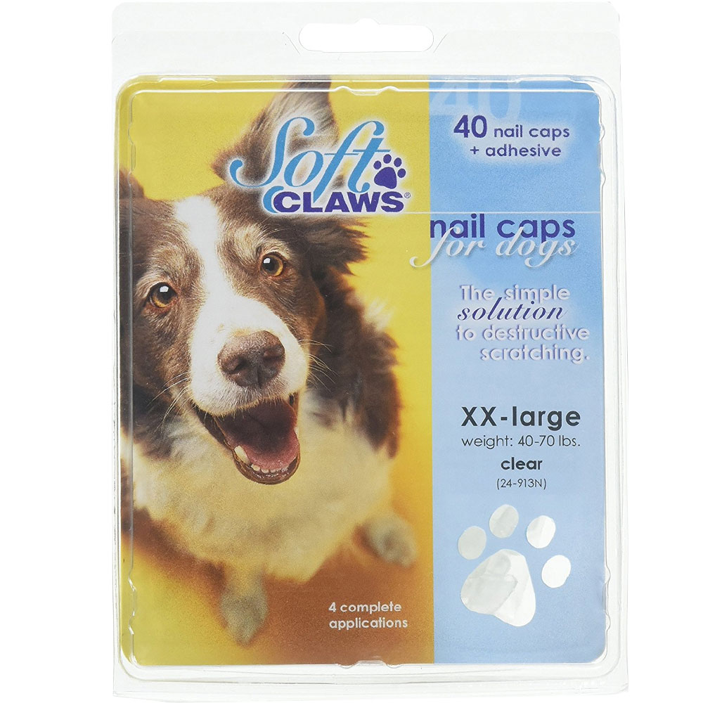 Soft Claws Nail Caps for Dogs 40 Count Pack - Clear (XXLarge)