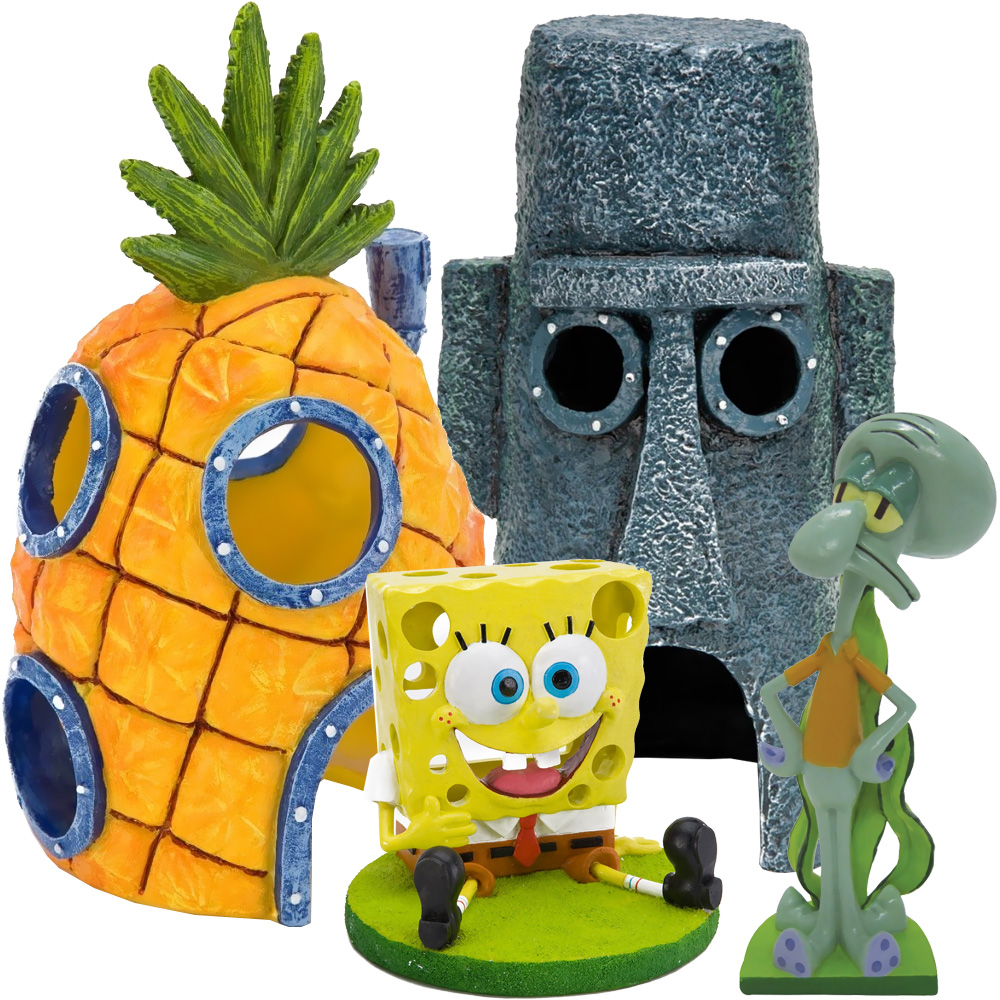 Spongebob squidward home aquarium ornament set for Aquarium decoration set