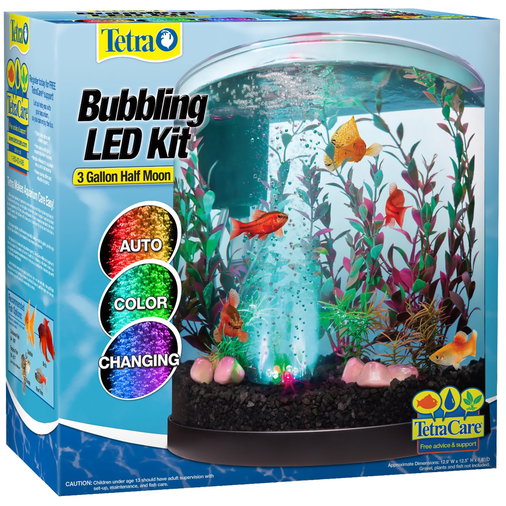 Tetra bubbling led half moon aquarium for Tetra fish tanks