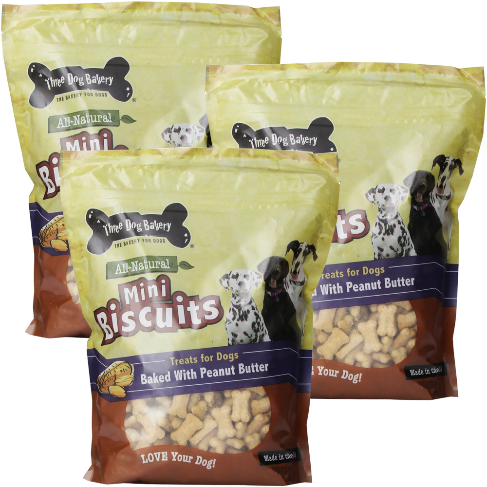 Three Dog Bakery Biscuits Miniature Peanut Butter 3-PACK (48 oz)