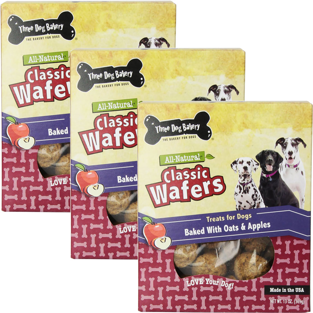Three Dog Bakery Classic Wafers Apple Oatmeal 3-PACK (39 oz)