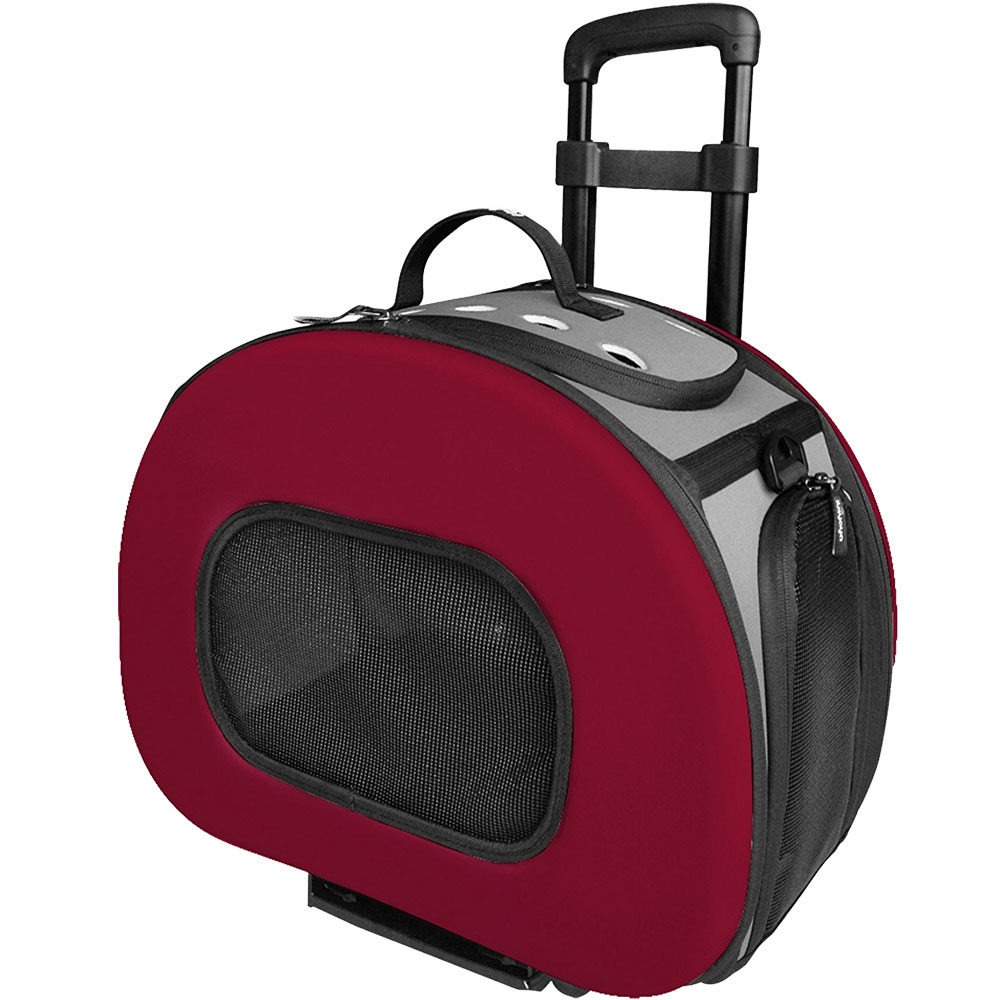 Tough-Shell Wheeled Collapsible Final Destination Pet Carrier - Red