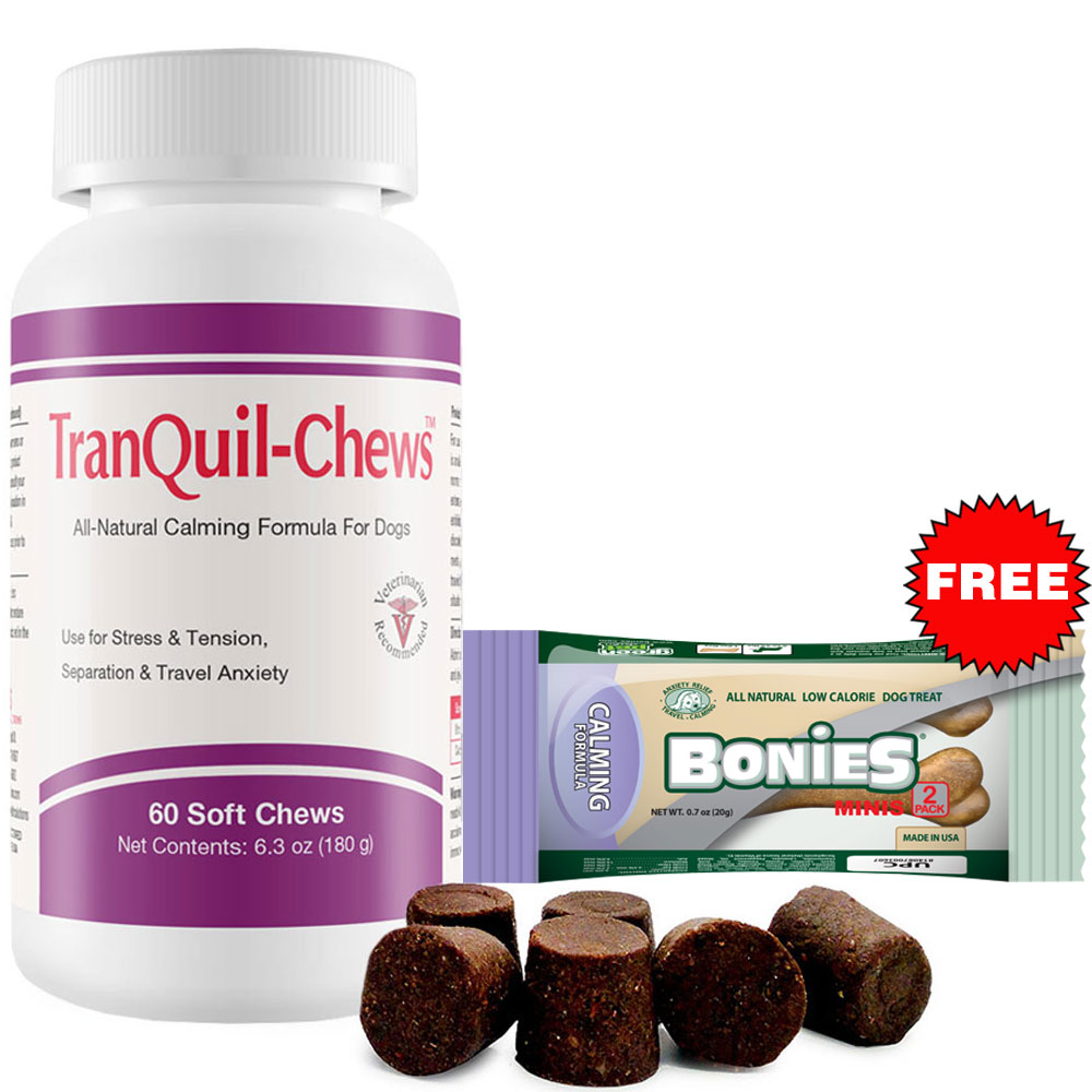TranQuil-Chews for Dogs (60 Soft Chews) + Free Bonies Natural Calming Formula Minis 2-Pack
