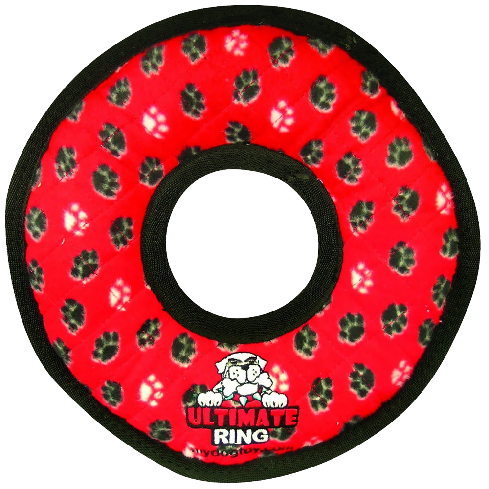 Tuffy's Ultimate Ring Red Paws Dog Toy