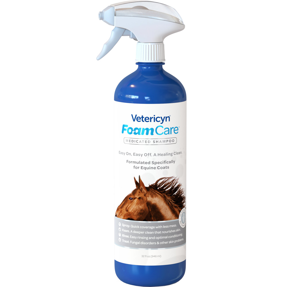 Vetericyn FoamCare Medicated Shampoo for Horses (32 fl oz)