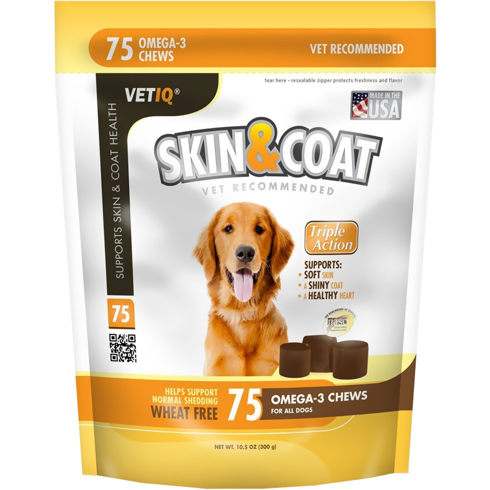 VetIQ Skin & Coat Omega-3 Chews 10.5 oz (75 count)
